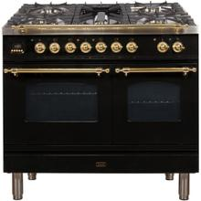 Nostalgie 40 Inch Dual Fuel Natural Gas Freestanding Range in Glossy Black with Brass Trim