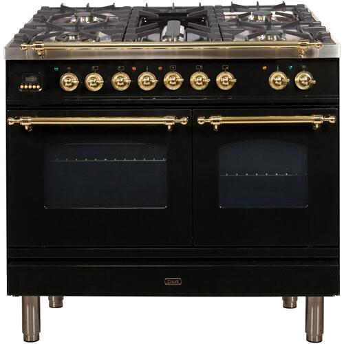 Ilve - Nostalgie 40 Inch Dual Fuel Natural Gas Freestanding Range in Glossy Black with Brass Trim
