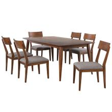 Product Image - Dining Table Set w/Padded Performance Fabric Chairs - Mid Century (7 Piece)