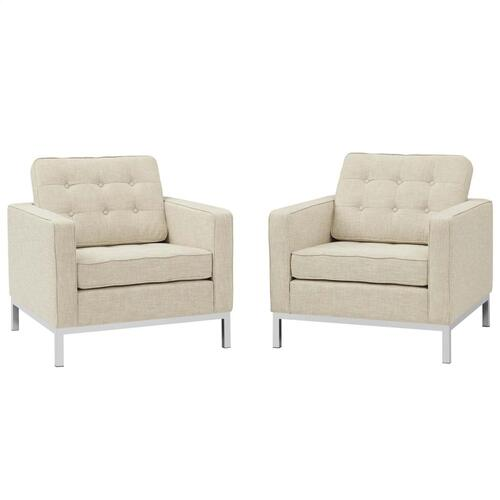 Loft Armchairs Upholstered Fabric Set of 2 in Beige
