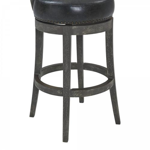 "Armen Living Corbin 30"" Bar Height Barstool in American Grey Finish and Onyx Faux Leather"