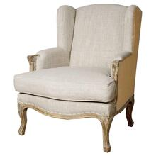 Marie Wing Arm Chair, Rice/Burlap