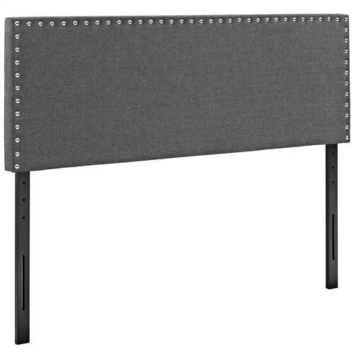 Phoebe King Upholstered Fabric Headboard in Gray