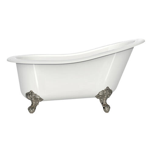 Shropshire 60-1/2 Inch X 30 Inch Freestanding Slipper Bathtub in Volcanic Limestone™ with Overflow Hole - Gloss White