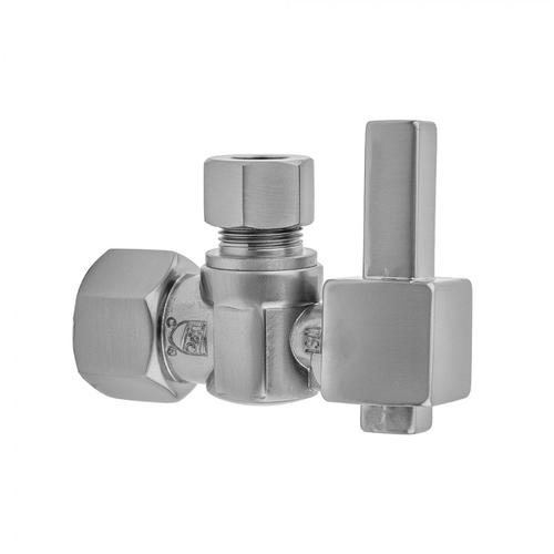 """Polished Chrome - Quarter Turn Angle Pattern 1/2"""" IPS x 1/2"""" O.D. Supply Valve with Square Lever Handle"""