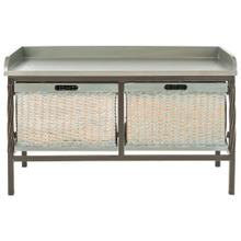 See Details - Noah 2 Drawer Wooden Storage Bench - Antique Pewter/ French Grey