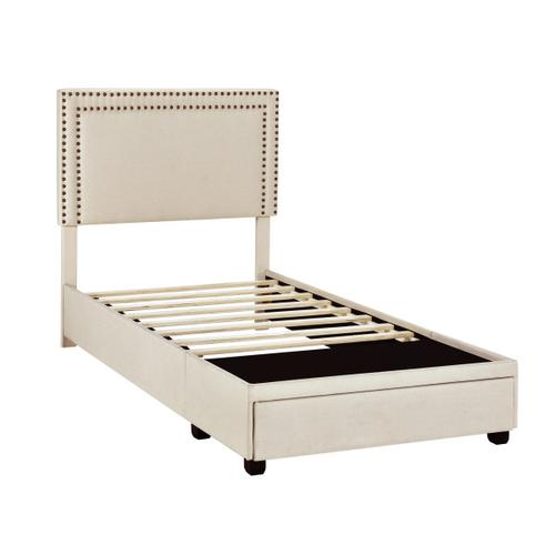 Accentrics Home - Twin Nail Trim Storage Bed in Linen