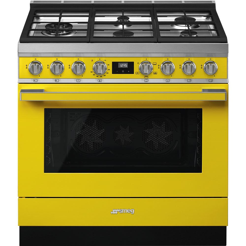 """SmegPortofino Pro-Style Gas Range, Yellow, 36"""" X 25"""""""