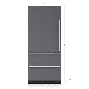 """Subzero36"""" Designer Over-and-Under Refrigerator/Freezer with Internal Dispenser and Ice Maker - Panel Ready"""