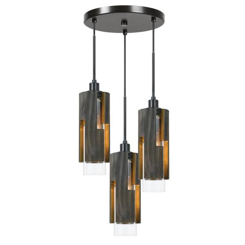 60W X 3 Reggio Wood Pendant Glass Fixture (Edison Bulbs Not included)