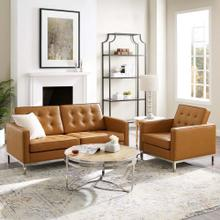Loft Tufted Upholstered Faux Leather Loveseat and Armchair Set in Silver Tan