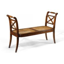 See Details - Regency caned walnut bench with high arms
