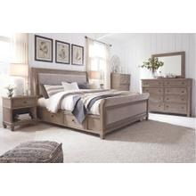 Product Image - King Upholstered Bed With 4 Storage Drawers With Mirrored Dresser