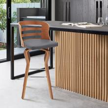 """View Product - Verne 30"""" Swivel Gray Faux Leather and Walnut Wood Bar Stool"""