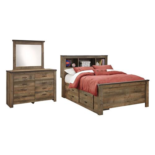 Full Panel Bed With 2 Storage Drawers With Mirrored Dresser