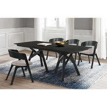 Cortina and Jackie 5 Piece Black Rectangular Dining Set