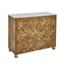 "Wood 37"" 3 Drawer Cabinet W/parquetry Design, Brow"