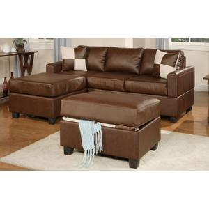Gallery - 3-Pcs Sectional Sofa Bonded Leather Match/Espresso