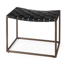 See Details - Clarissa 22.0L x 16.0W x 16.5H Black Leather Woven Seat W/ Gold Metal Frame Stool