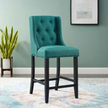 Baronet Tufted Button Upholstered Fabric Counter Stool in Teal