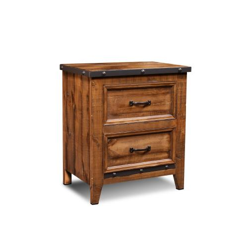 Nightstand w/ Metal Accents - Rustic Collection