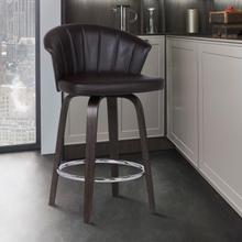 "Ashley Wood Back 30"" Swivel Brown Faux Leather Bar Stool"