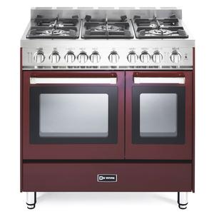 "Burgundy 36"" Gas Double Oven Range - 'N' Series"