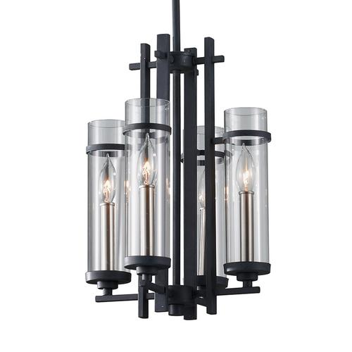 Ethan Small Chandelier Antique Forged Iron / Brushed Steel