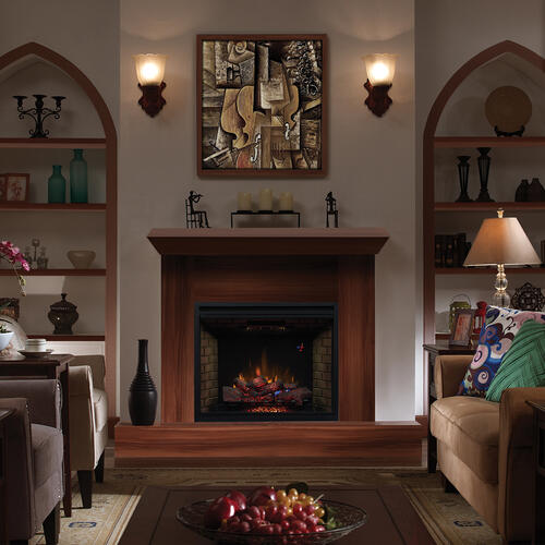 """Gallery - 39"""" Traditional Built-In Electric Fireplace Insert with Glass Door, Dual Voltage Option"""