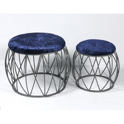 Emerald Home Ac351-rd-nvy-2pcset Sorrento Stool Set, Silver