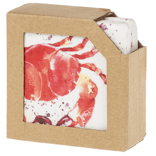 Red Watercolor Crab Coaster (4 pc. set)