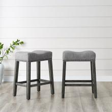 "CoCo Upholstered Backless Saddle Seat Counter Stools 24"" height Set of 2, Gray"