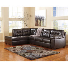 Signature Design by Ashley Alliston with Left Side Facing Chaise Sectional in Chocolate Faux Leather [FSD-2399SEC-CHO-GG]