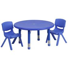 Product Image - 33'' Round Blue Plastic Height Adjustable Activity Table Set with 2 Chairs