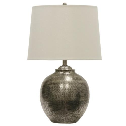Antique Pewter  Transitional Hammered Metal Table Lamp  150W  3-Way  Hardback Shade