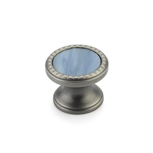 "Kingsway, Knob, Round, 1-1/4"" dia, Antique Nickel, Glacier Blue Glass"