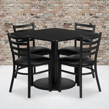 36'' Square Black Laminate Table Set with Round Base and 4 Ladder Back Metal Chairs - Black Vinyl Seat