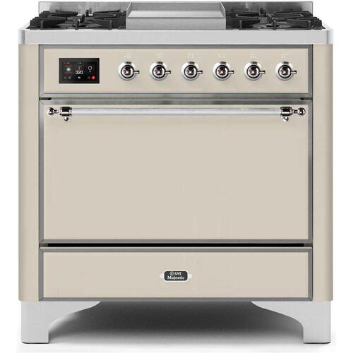 Gallery - Majestic II 36 Inch Dual Fuel Natural Gas Freestanding Range in Antique White with Chrome Trim