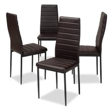 View Product - Baxton Studio Armand Modern and Contemporary Brown Faux Leather Upholstered Dining Chair (Set of 4)