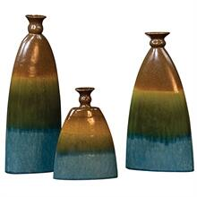 Product Image - Pewter, Blue & Green Ceramic Vases