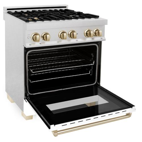 """Zline Kitchen and Bath - ZLINE Autograph Edition 30"""" 4.0 cu. ft. Dual Fuel Range with Gas Stove and Electric Oven in DuraSnow® Stainless Steel with White Matte Door and Accents (RASZ-WM-30) [Color: Champagne Bronze]"""