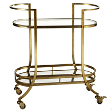 Two Tier Bar Cart with Mirror & Glass