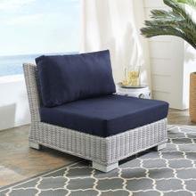 Conway Sunbrella® Outdoor Patio Wicker Rattan Armless Chair in Light Gray Navy