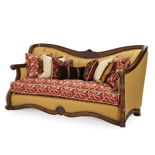Wood Trim Channel Back Sofa - Opt1