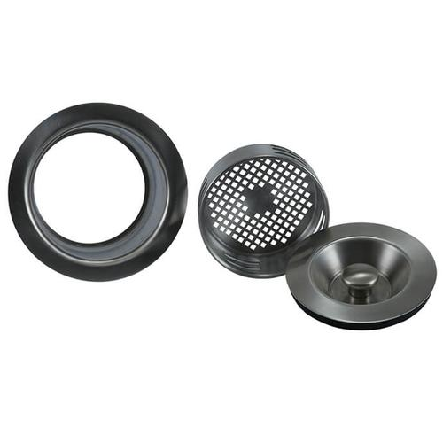Mountain Plumbing - 3-in-1 Complete Stopper & Strainer Unit Waste Disposer Trim - Extended Flange - Black Nickel