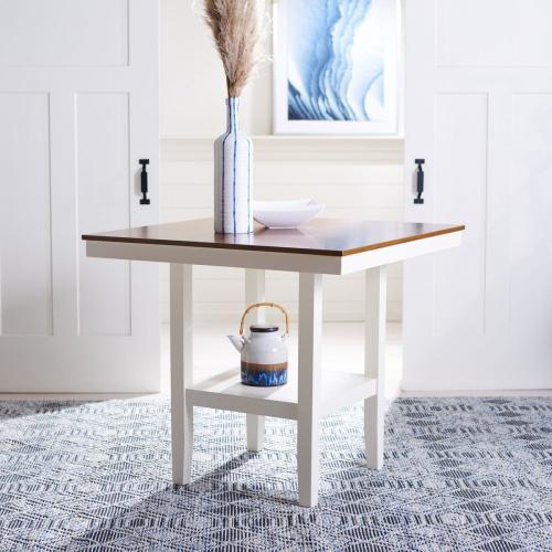 Yuri Square Counter Table - White / Natural