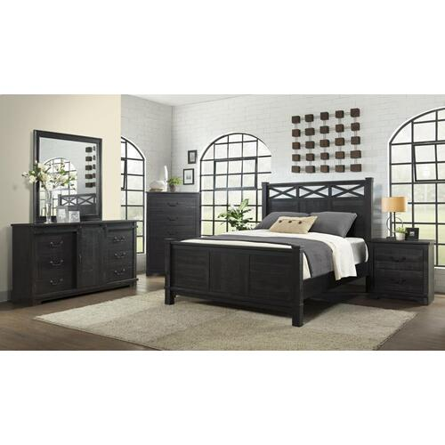 CAL KING BED - HB/FB/R - Antique Black
