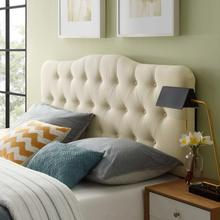 See Details - Annabel Queen Upholstered Fabric Headboard in Ivory