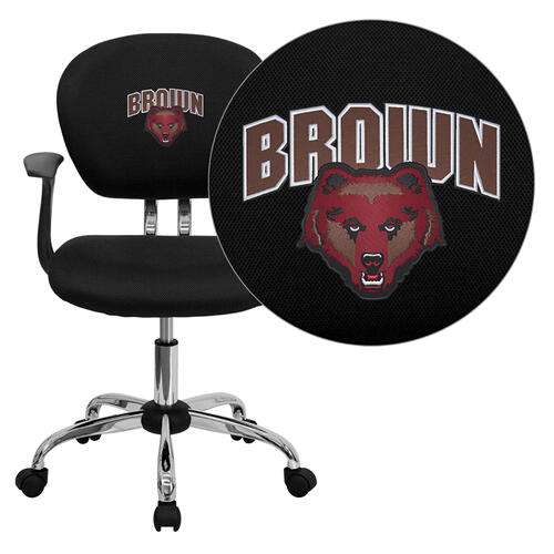 Brown University Bears Embroidered Black Mesh Task Chair with Arms and Chrome Base