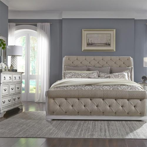 King California Sleigh Bed, Dresser & Mirror